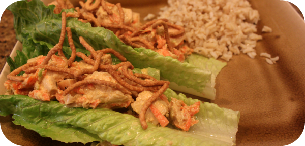 {ginger chicken romaine wraps}