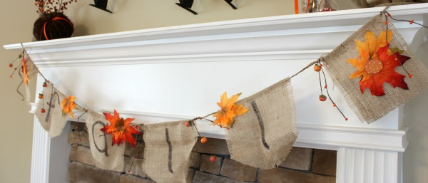 {Burlap Fall Banner & Mantel Reveal}