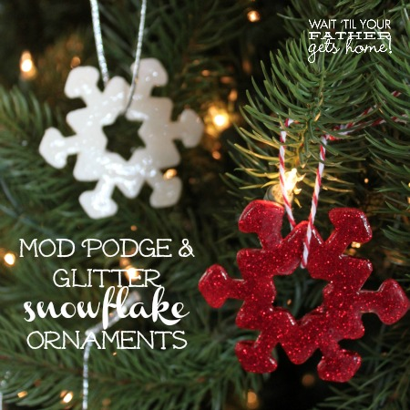 Kid-Friendly Mod Podge Snowflake Ornaments