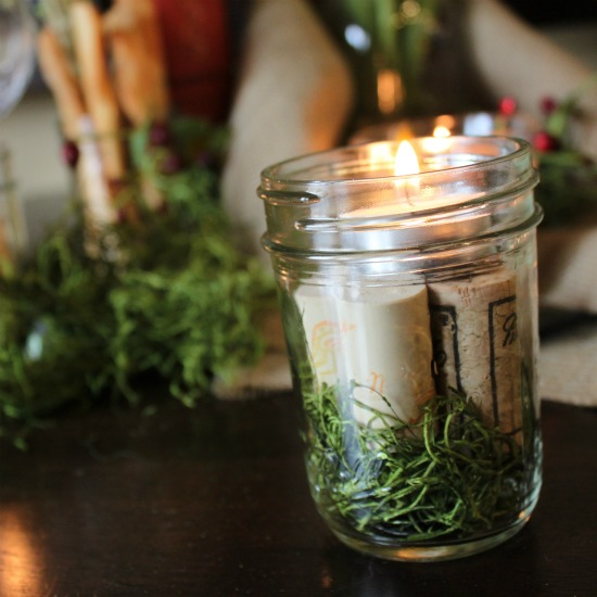 Moss, Cork, and Mason Jar Candles @ WTYFGH