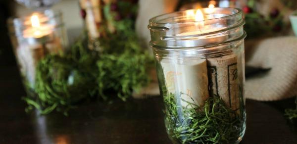 {Simple Mason Jar Candles}