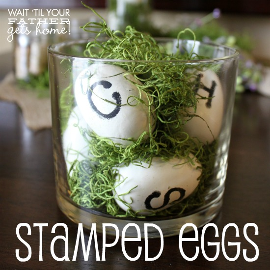 stamped eggs in moss