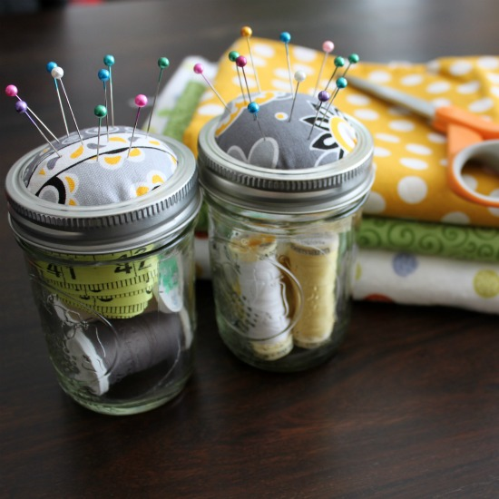 Mason Jar Sewing Kits @ Wait Til Your Father Gets Home Makes a great gift for anyone that loves to sew! #sewing #masonjar #gift
