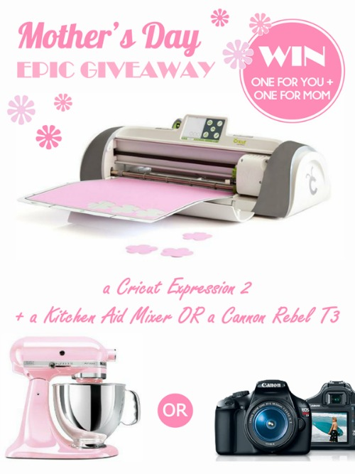HUGE Giveaway...winner gets 2 Cricut Expression 2, and their choice of either 2 Kitchen Aid Mixers or 2 Canon Rebel T3's (one prize pack for you and one for your mama) Would make an awesome Mother's Day gift!!