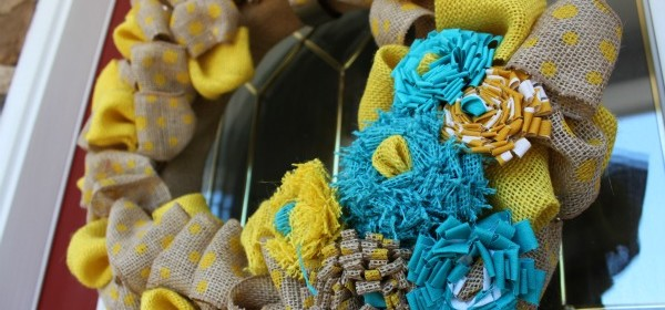 {Yellow & Teal Burlap Wreath}