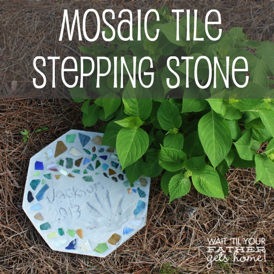 Mosaic Tile Stepping Stone @ Wait Til Your Father Gets Home, perfect gift for Mother's Day or to mark a special occasion #steppingstone #gardenstone #mosaictiles #handprints #gifts #kids #garden
