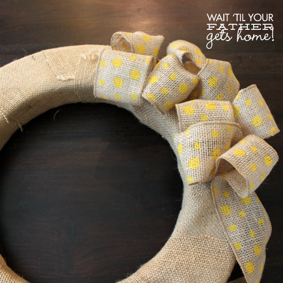 Yellow & Teal Burlap Wreath for Summer @ Wait Til Your Father Gets Home #burlap #wreath #fabricflowers #summer