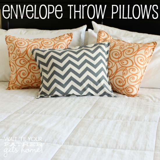 Envelope Throw Pillows via www.waittilyourfathergetshome.com #spring #decor #DIY #sewing #pillows