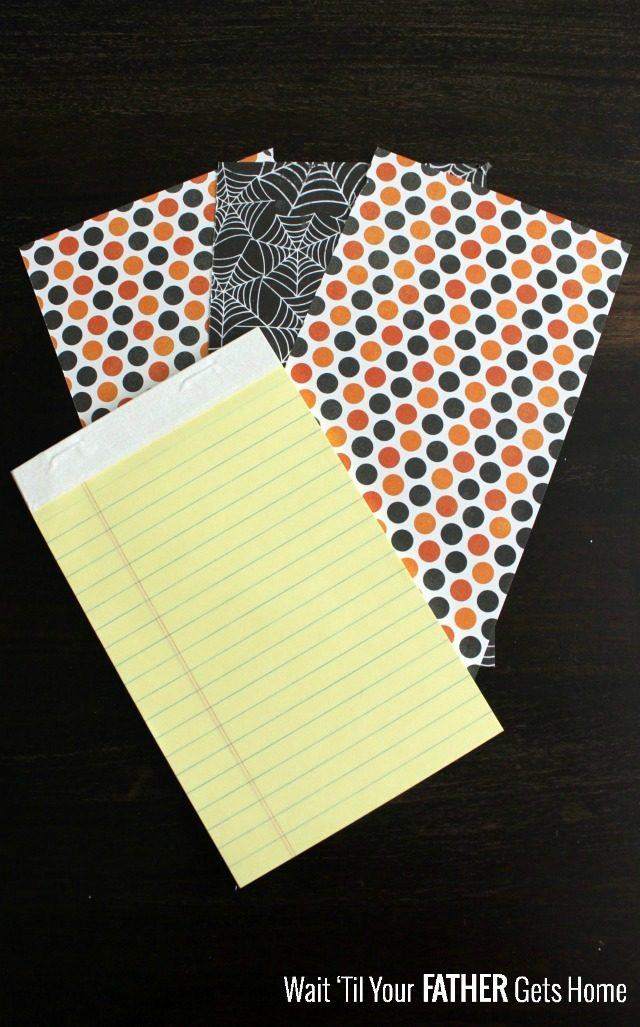 Easy Halloween Notepads via www.waittilyourfathergetshome.com #halloween #notepads