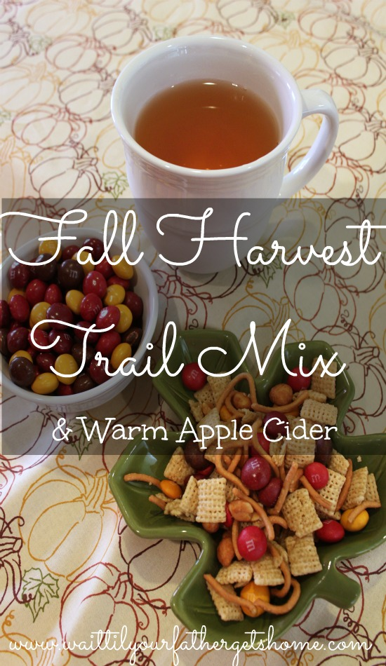 Fall Harvest M&M's trail mix and warm apple cider using Mott's 100% apple juice via www.waittilyourfathergetshome.com #shop #cbias #HarvestFun