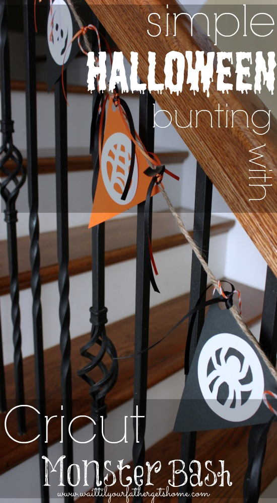 Simple #Halloween #Bunting using #Cricut's Monster Bash and a few spools of orange & black ribbon and twine via www.waittilyourfathergetshome.com