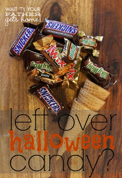 What to do with all that left over #Halloween #candy?  Make candy coated ice cream cones of course via www.waittilyourfathergetshome.com