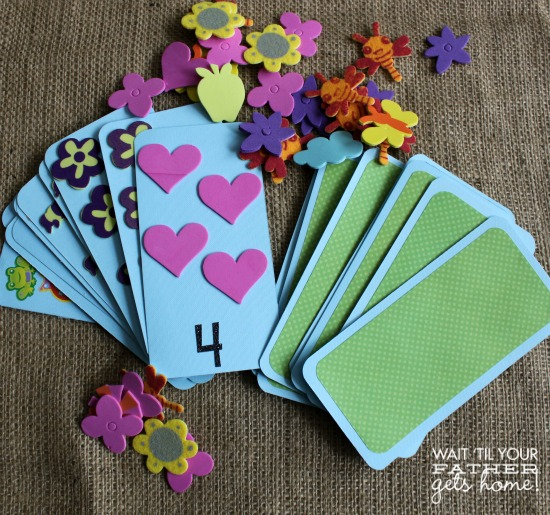 Toddler Memory or Matching Game using #PomTreeKids foam stickers, great activity on the go! #ad