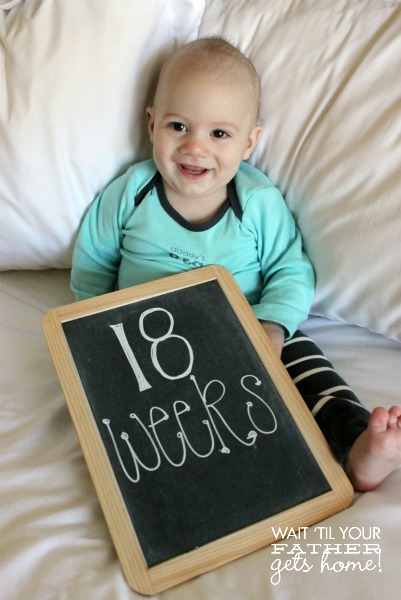 Document Baby's First Year with weekly pictures via www.waittilyourfathergetshome.com #baby #photos #weekbyweek