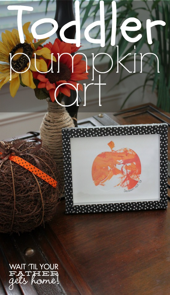 Toddler Pumpkin Art with #CottonelleTarget cardboard tubes, easy and a great decor item to put out each year via www.waittilyourfathergetshome.com #pmedia #ad