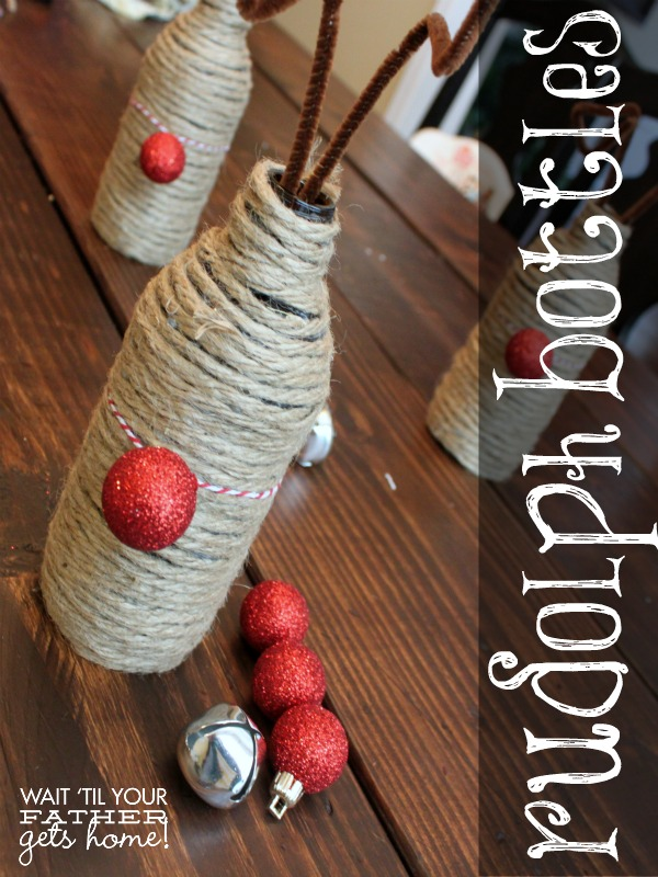 #Rudolph the Red Nose Reindeer #Bottle Decor via www.waittilyourfathergetshome.com #Christmas #DIY #decorating