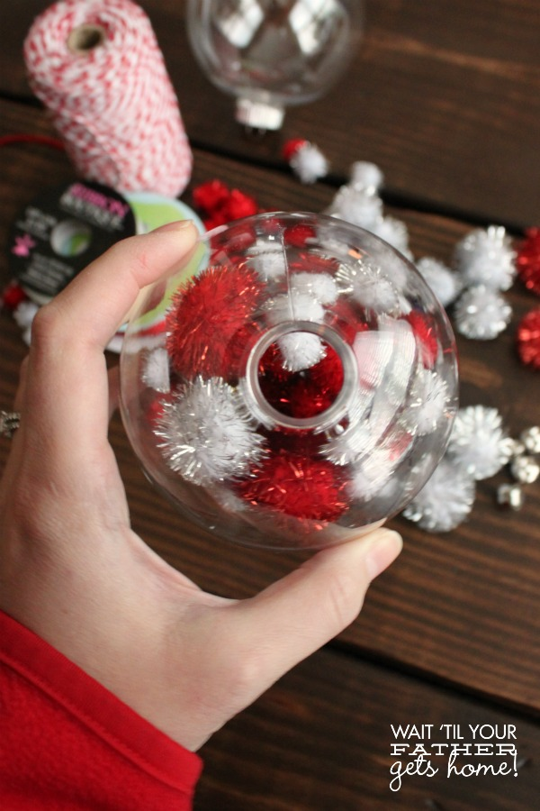 DIY Pom Pom Ornament via www.waittilyourfathergetshome.com #ornaments #DIY #handmade #Christmas