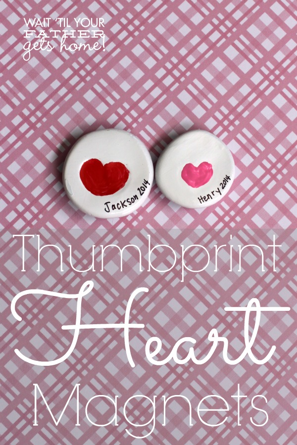 Use your little's finger or thumb to create sweet thumbprint hearts in clay to make a sweet, keepsake magnet.  Grandmas and Grandpas will love them! via www.waittilyourfathergetshome.com #ValentinesDay #thumbprint #hearts #magnets