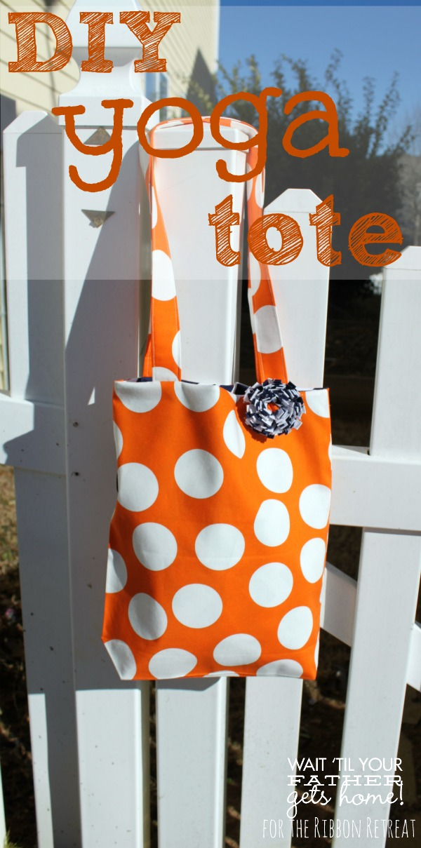 Follow this simple tutorial to sew a lined yoga tote for your latest trip to the gym via www.waittilyourfathergetshome.com #tote #linedtote #tutorial #sewing