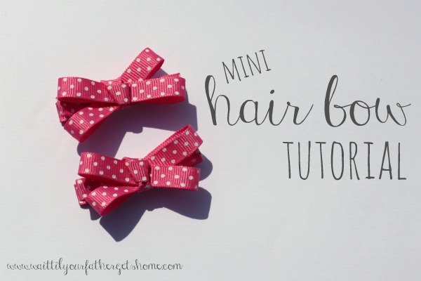 Mini Hair Bow Tutorial by waittilyourfathergetshome.com  #hairbow #bow #toddler #littlegirl