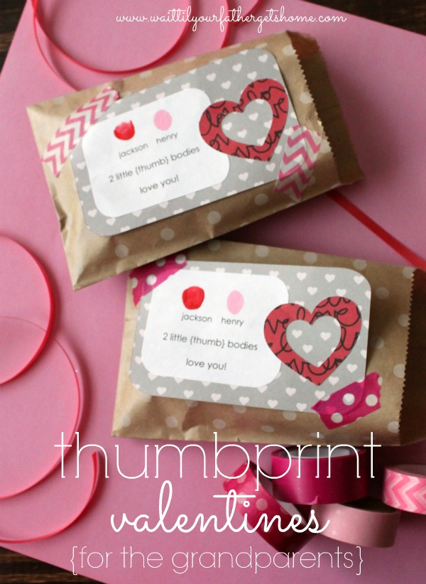 Thumbprint Valentines for the Grandparents via www.waittilyourfathergetshome.com #thumbprint #keepsake #handmade #ValentinesDay