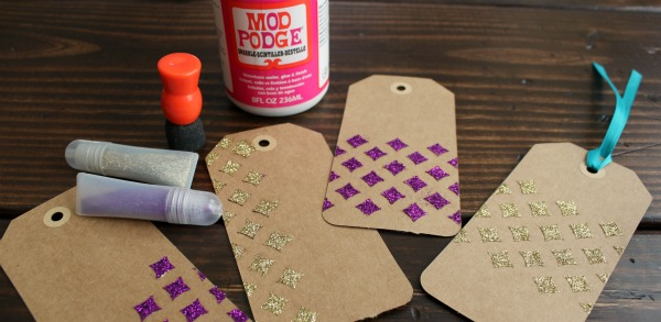 Pretty Stenciled Glitter Tags