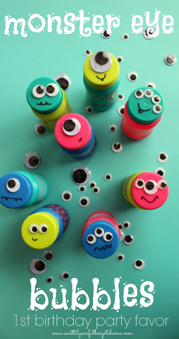 Monster Eye Bubbles, perfect birthday party favor via waittilyourfathergetshome.com #birthday #partyfavors #birthdayparty #monsterparty #bubbles #googlyeyes