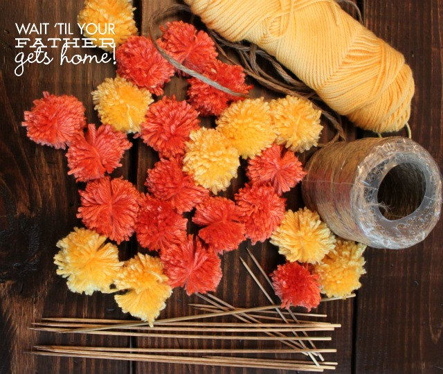 Easy yarn pom pom bouquet from Wait Til Your Father Gets Home #yarn #pompom #bouquet #DIY