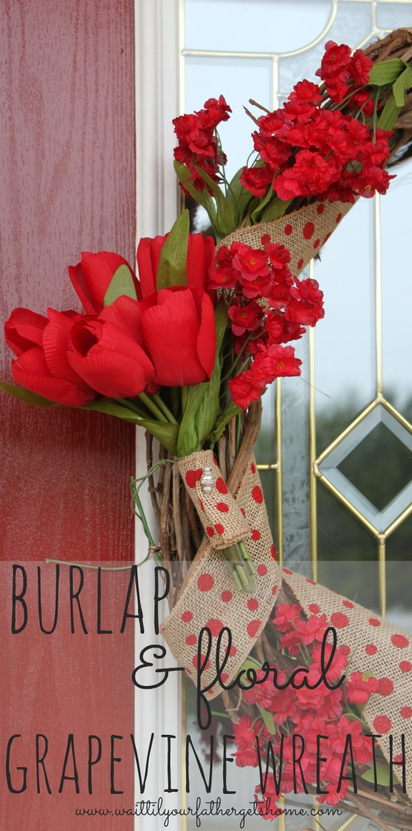 Make a pretty burlap and floral grapevine wreath this Spring to brighten up your front door via www.waittilyourfathergetshome.com #wreath #grapevine #burlap #floral