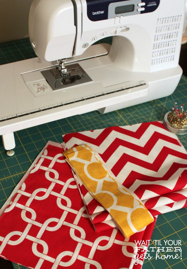 Make a pretty spring table runner with beautiful new prints from Online Fabric Store's awesome fabric selection with Wait Til Your Father Gets Home. #tablerunner #sewing #spring #fabric