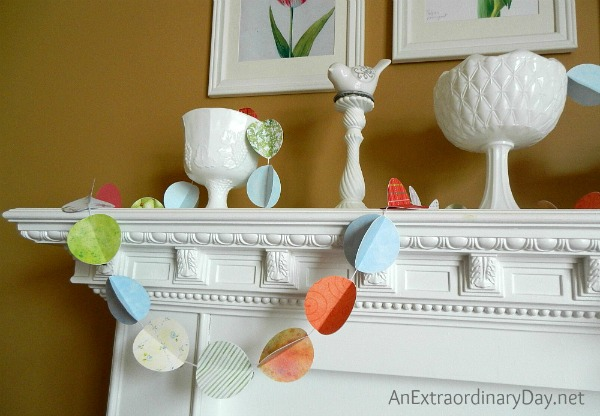 Paper-Garland-Decorating-the-Mantel-for-Spring-AnExtraordinaryDay.net_