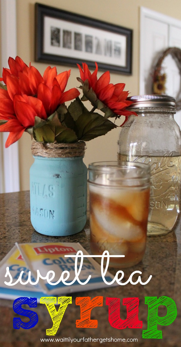 Make a mason jar full of sweet tea syrup to sweeten up your favorite iced tea this spring or summer from Wait Til Your Father Gets Home #sweettea #icedtea #recipes #drinks