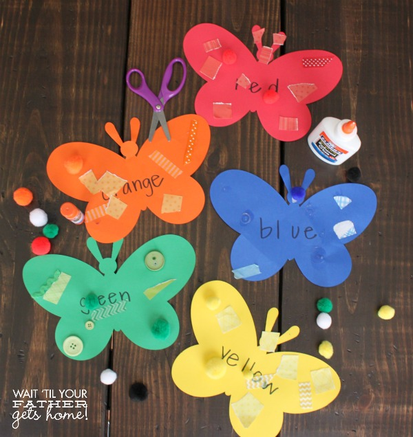 Butterfly cutouts used for color matching activities with preschoolers on Wait Til Your Father Gets Home.  #colors #colormatching #homeschool #preschool #toddler #letterB #letterC #cricutexplore