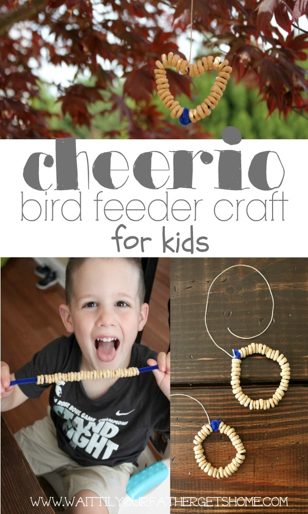 Make an easy Cheerio Bird Feeder with your little one this summer to keep their fingers occupied and make some birds happy via Wait Til Your Father Gets Home #kidscrafts #summercrafts #kidsactivities #birdfeeder