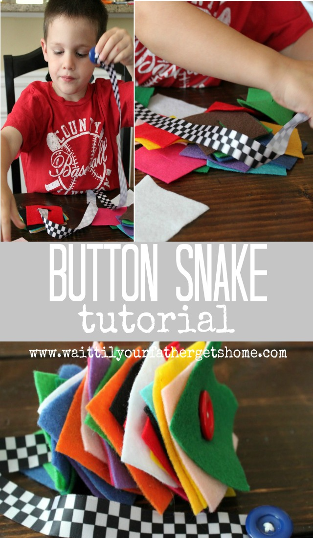 Button Snake Tutorial via Wait Til Your Father Gets Home #preschool #buttonsnake #toddlers #finemotorskills