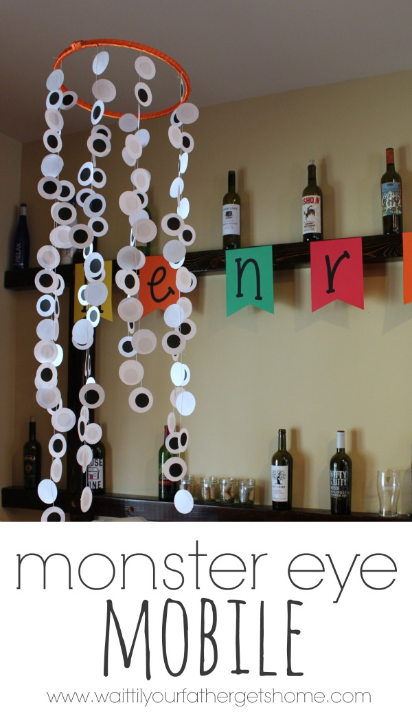 Monster Eye Mobile, birthday party decor by Wait Til Your Father Gets Home #birthday #monsterparty #birthdaydecor #CricutExplore