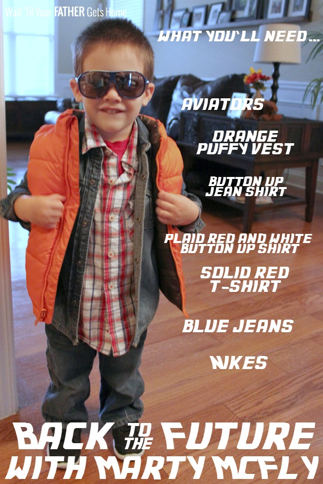 Dress your little guy up as Marty McFly this Halloween with a few simple pieces of clothing via Wait 'til Your Father Gets Home #HalloweenCostumes #KidsCostumes #Halloween #BacktotheFuture