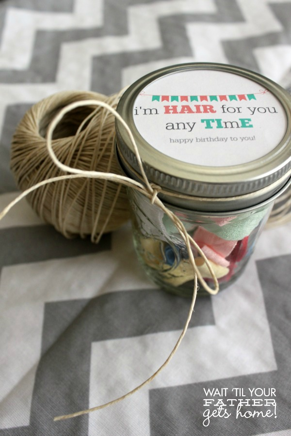Make a handful of elastic hair ties for a sweet and simple birthday gift for your friends!  Free printable tag included from Wait Til Your Father Gets Home #giftidea #birthday #hairties #printable