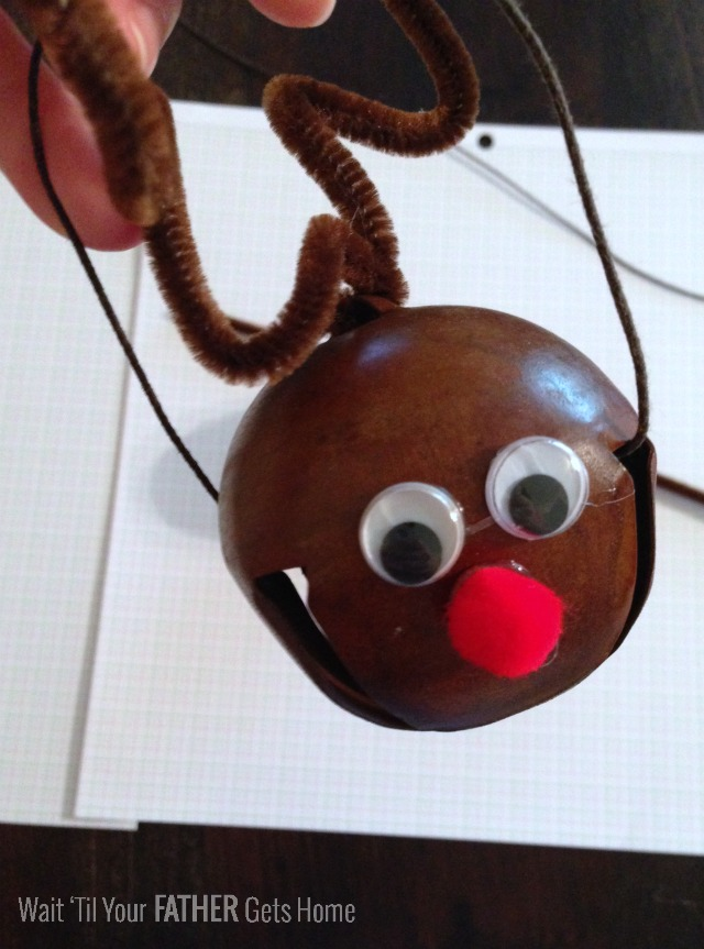 Rudolph Jingle Bell Ornament via Wait 'til Your Father Gets Home #Christmas #Rudolph #neighborgifts #christmasgifts