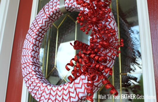 Glitter Chevron Christmas Wreath