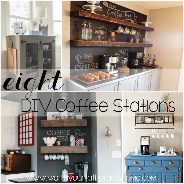 8 diy coffee stations via wait til your father gets home coffeestations coffeebar - Kitchen Coffee Bar