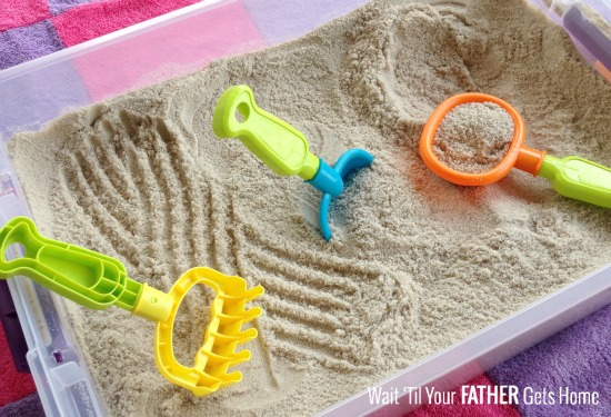 DIY Portable Sand Bin via Wait Til Your Father Gets Home #sand #sandbox #sandbin #rainyday #kids #kidsactivities