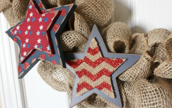 Simple Patriotic Burlap Wreath