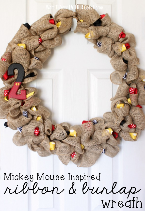 Mickey Mouse inspired ribbon & burlap wreath via Wait Til Your Father Gets Home #MickeyMouse #MickeyMouseParty #MickeyMouseBirthday #MickeyMouseWreath