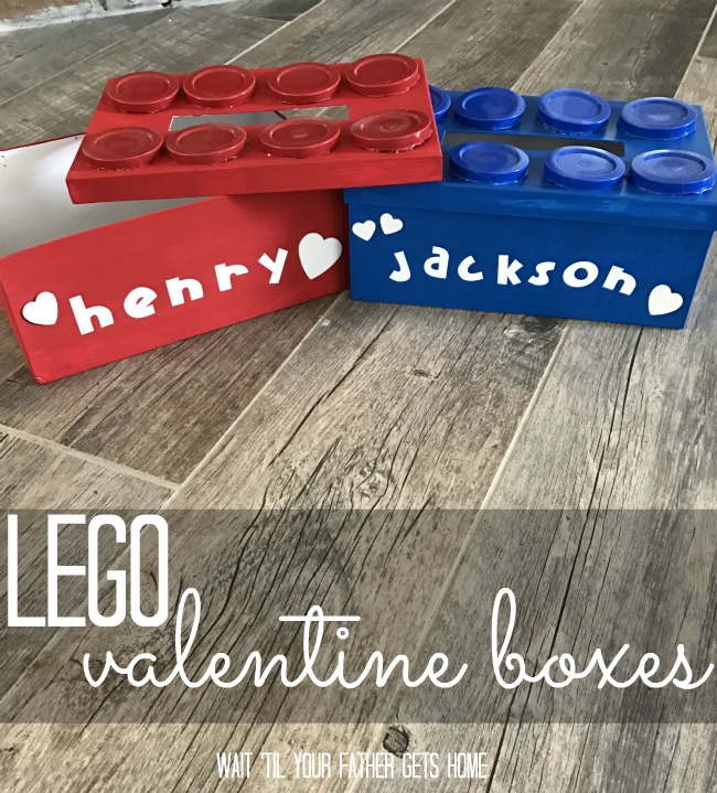 Lego Valentine Boxes with Oriental Trading products via Wait 'Til Your Father Gets Home #ValentinesDay #ValentinesDayBoxes #ValentineGifts