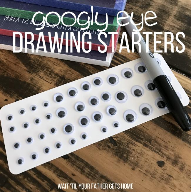 Google Eye Drawing Starters via Wait 'Til Your Father Gets Home & Learn365 for #OrientalTrading #summerlearning #kidscrafts #kidart #coloring #sp