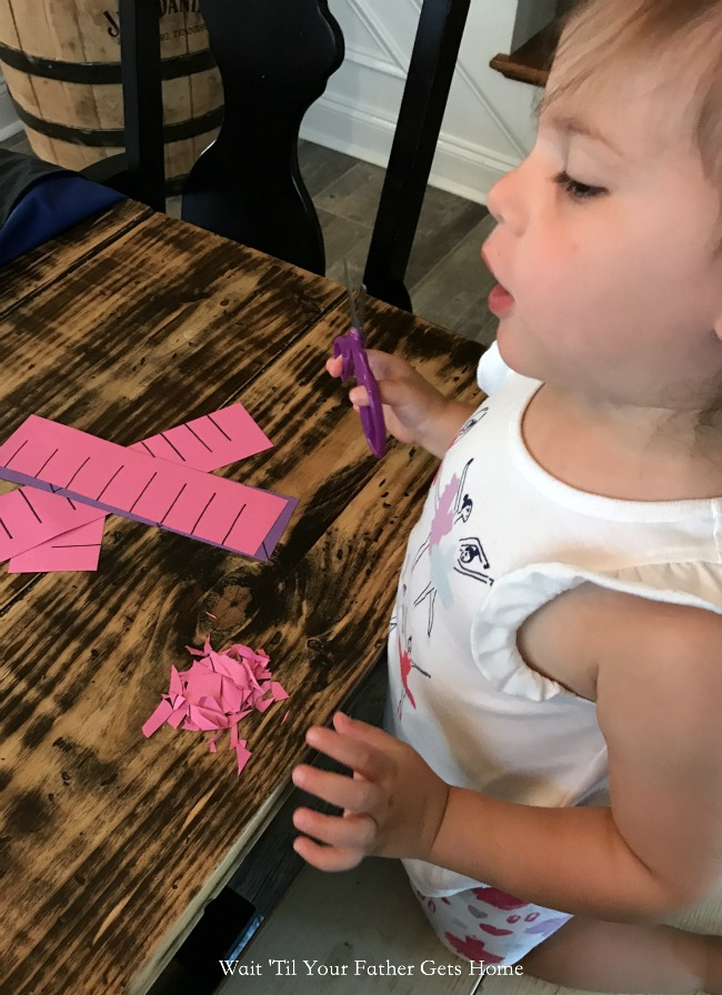 Easy Scissor Skills practice via Wait 'Til Your Father Gets Home #scissorskills #scissorpractice #scissors #homeschool #preschool #summerlearning #Learn365 #OrientalTrading #ad