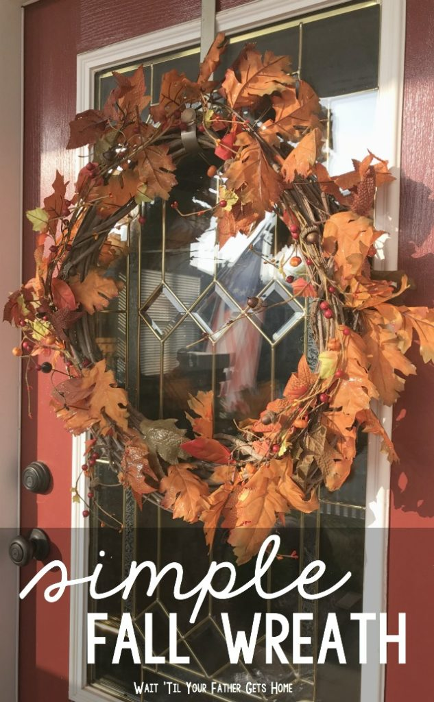Simple Fall Wreath via Wait Til Your Father Gets Home #OrientalTrading #ad #sponsored #fallwreath #mapleleafwreath