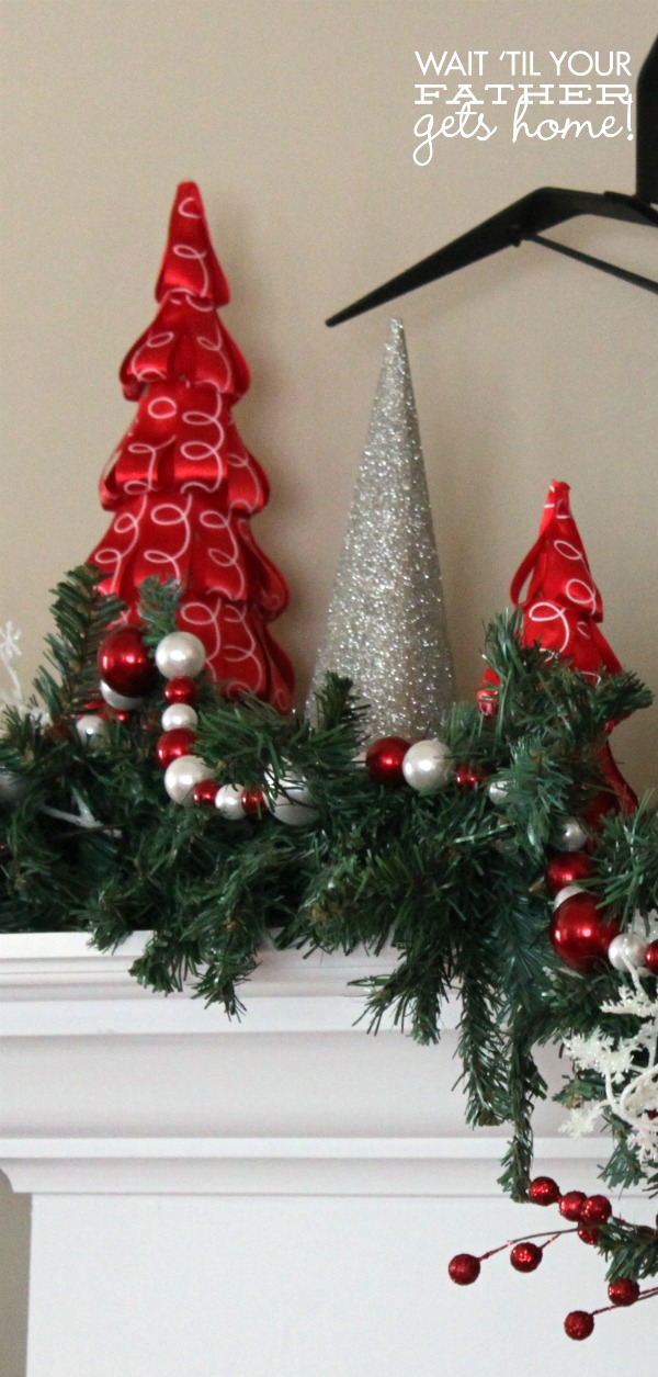 Ribbon Trees via waittilyourfathergetshome.com for Happiness is Homemade #Christmas #DIY #decor