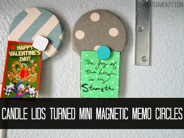candle jar lids turned magnetic memo boards